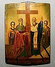 ANTIQUE UKRAINIAN ICON EXALTATION OF HOLY CROSS, 19TH C