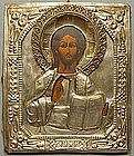 Antique Russian Icon Christ Pantocrator, 19th Century