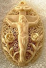 ANTIQUE POLISH CROSS CRUCIFIX PENDANT, 19th CENTURY