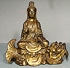 Antique Chinese Gild Bronze Guanyin 18th century