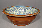 Antique Chinese Blue White Porcelain Large Bowl, 19th c