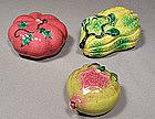 Antique Chinese Export Famille Rose Ceramic Altar Fruit