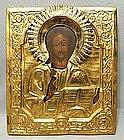 Antique Russian Icon Christ Pantocrator in Oklad