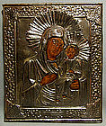 Antique Russian Icon Mother of God Iverskya Hodegetri