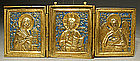 Antique Russian Icon Brass Enamel Triptych
