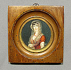 Antique Miniature Napoleonic Painting Portrait on Ivory