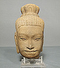 Antique Khmer Sandstone Divinity Head, 11th century