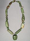 Ancient Mayan Jade Pre Columbian Necklace, 500-950 AD