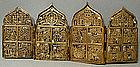Antique Russian Folded Icon Brass Enamel, 18th Century