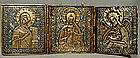 Antique Russian Icon Triptych Brass Enamel, 19th Centur
