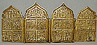 Antique Russian Icon Brass Four Panels, 18th-19th centu