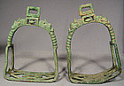 Antique Chinese Bronze Stirrups, Tang Dynasty