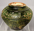 Antique Chinese Han Dynasty Green Glaze Jar