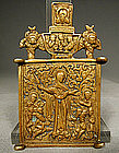 Antique Russian Brass Icon Virgin the Joy of All That M