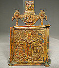 Antique Russian Bronze Icon Virgin the Joy of All Mourn