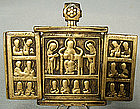 Antique Russian Bronze Triptych Icon, 17th Century