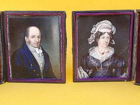 Antique Pair Portrait Miniatures oil Ivory signed 1823