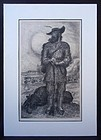 John Steuart  Curry The Plainsman lithograph 1945