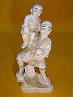 Japanese Ivory Okimono carving Man Boy turtle