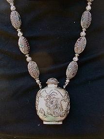 Chinese Silver Cloisonne Enamel Snuff bottle necklace