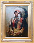 Souix Indian Chief & war club portrait by R. Neilson