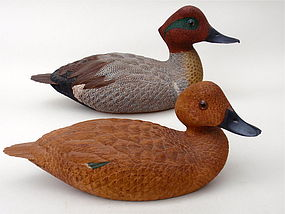 Duck Decoys Pair Green wing teal signed Dan Heinman