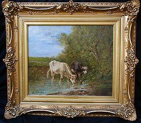 Cows at a stream  Eugène Fromentin  (1820 - 1876) oil