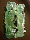 Chinese Carved Emerald Crystal Immortals Qing
