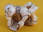 Japanese Ivory Netsuke girl reading signed Meiji