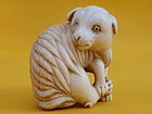 Japanese antique Ivory Netsuke of a lamb signed Yu So