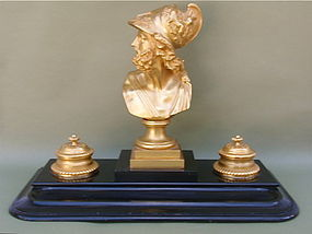 French Gilt Bronze Inkwell desk set roman soldier