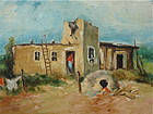 William R. Leigh Indian Southwest Adobe in landscape