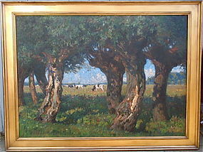 August Ludecke-Cleve impressionist Landscape cows