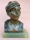 Antique Bronze Bust Boy with cigarette G. Martin