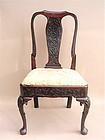 Irish Queen Anne carved mahogany chair c.1740