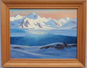 Leland Curtis Antarctic expedition 1940 Landscape oil