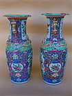 Chinese export Famille Rose Porcelain Vases Pair