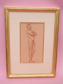 Eanger Irving Couse original drawing male nude