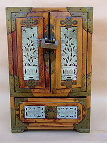 Antique Chinese Rosewood Jade jewelry box