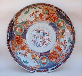 Japanese Imari porcelain Bowl huge signed Meiji