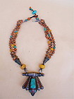 Antique Tibetan Necklace turquoise coral silver amber
