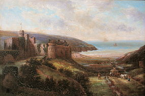 David Cox oil painting Manorbier Castle Wales