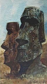 Stone Figures Easter Island Robert Daley AWS watercolor