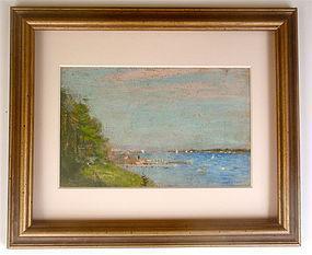 Frederick Wagner bay landscape sail boats American Impressionism