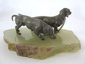 Austrian Vienna miniature Bronze Dachshunds sculpture
