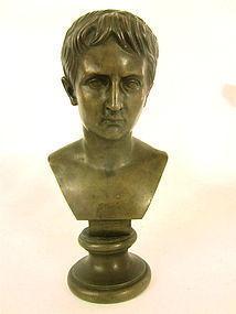 Antique Bronze portrait bust of a young Roman man