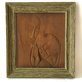 Paul Gauguin carved wood panel Tahitian Faces