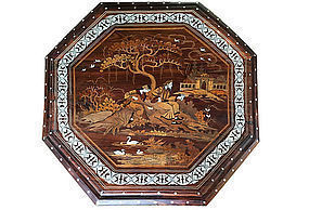 Anglo Indian Rosewood Inlaid Table Mogul design