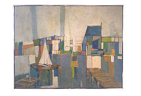 Abstract Harbor View Oil Painting Audrey Salkind