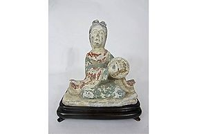 Chinese Tang Dynasty Pottery Female Musician figure